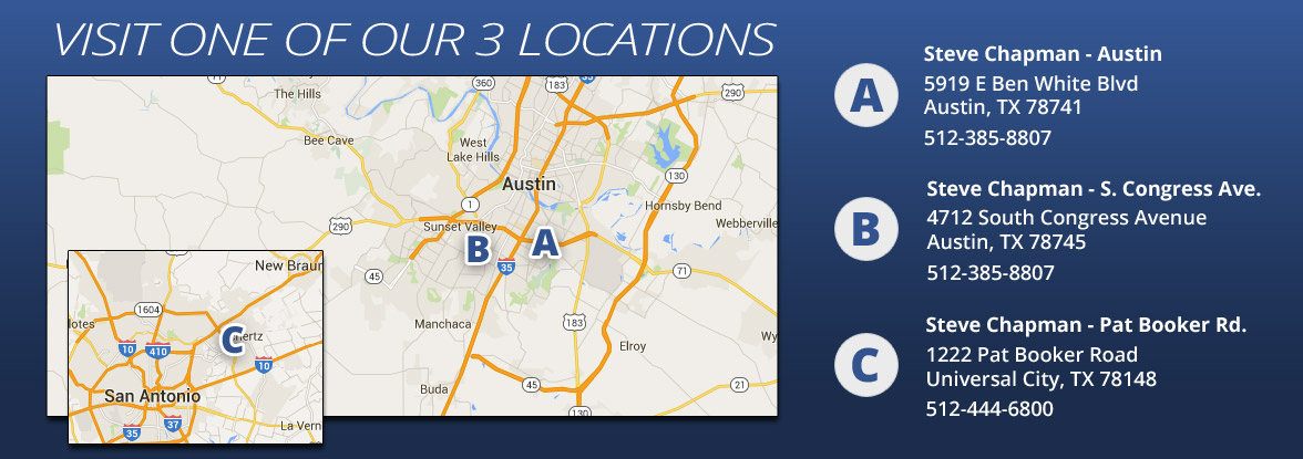Visit one of our three locations in Austin & Universal City!